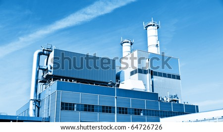 Modern chemical manufacturing plant construction - stock photo