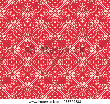Modern chinese stylish seamless texture geometric tiles wallpaper pattern background in retro style for your design - stock photo