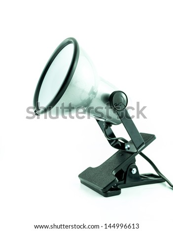 modern chome or silver lamp - desk lamp on white background - An office desk lamp - Nice modern desk lamp isolated on white background - stock photo