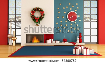 Modern christmas interior - stock photo
