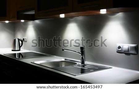 Modern chrome kitchen - stock photo