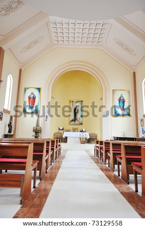 Modern church inside - stock photo
