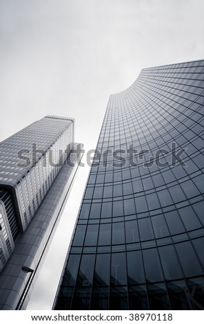 Modern city architecture, wide angle perspective - stock photo