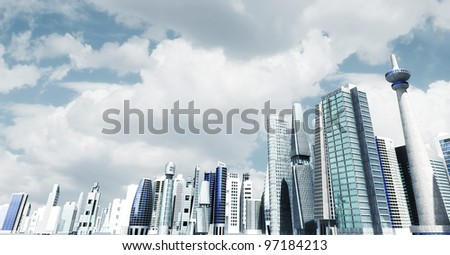 Modern city background. Illustrated with modern architectural commercial and office building with blue sky and futuristic design environment. - stock photo
