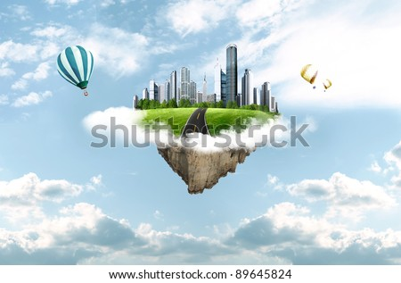 modern city in clouds. business concept - stock photo