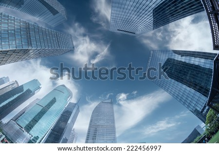 modern city in shanghai of china - stock photo