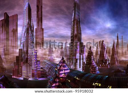 Modern City on an Alien Planet - stock photo