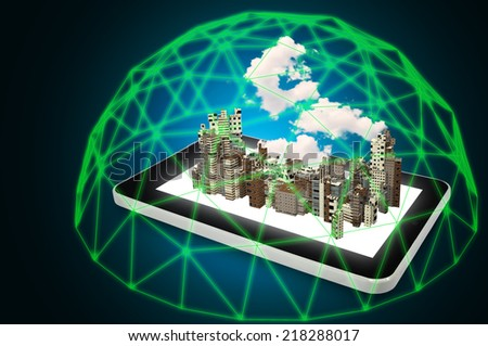 Modern City Over Touch screen Tablet Protect by Green force Barrier as Security Technology Concept - stock photo