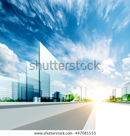 Modern city project. 3d rendering - stock photo