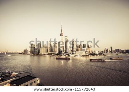 modern city - shanghai - stock photo