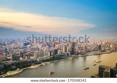 modern city skyline aerial view with huangpu river at dusk,shanghai,China - stock photo