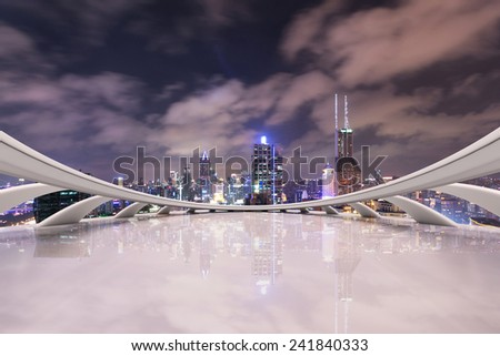 modern city skyline,traffic and cityscape in Shanghai,China.Futuristic business vision concept.  - stock photo