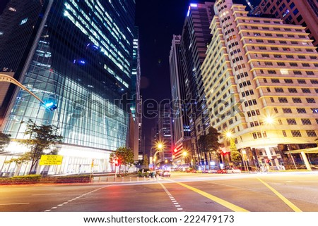 modern city street view at night  - stock photo