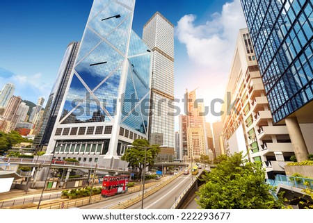 Modern city streets, Hong Kong, China. - stock photo