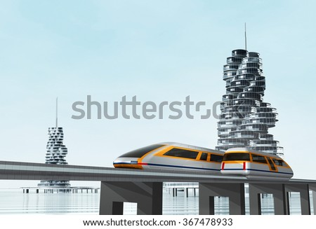 Modern city transport. Concept of magnetic levitation train moving on the skyway.  - stock photo