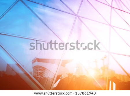 modern city urban futuristic architecture reflection in glass - stock photo