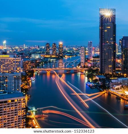 Modern city view of Bangkok, Thailand. Cityscape. - stock photo