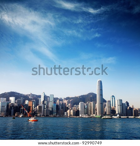modern city with blue sky (Hongkong) - stock photo