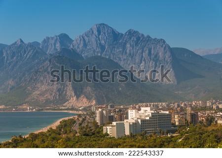 Modern cityscape and nature of beautiful Antalya, Turkey, 2014 - stock photo