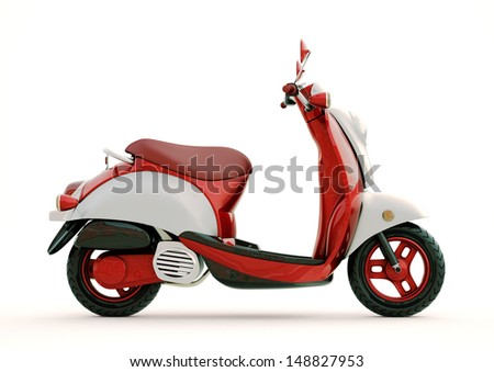 Modern classic scooter on a light background - stock photo