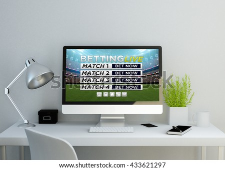 modern clean workspace mockup with live betting website on screen. 3D illustration. all screen graphics are made up. - stock photo