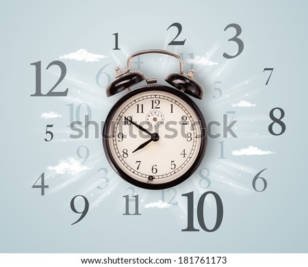 Modern clock with numbers on the side and clouds - stock photo