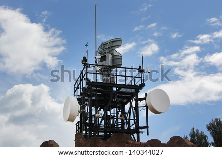 modern coastal radar for sea surveillance - stock photo