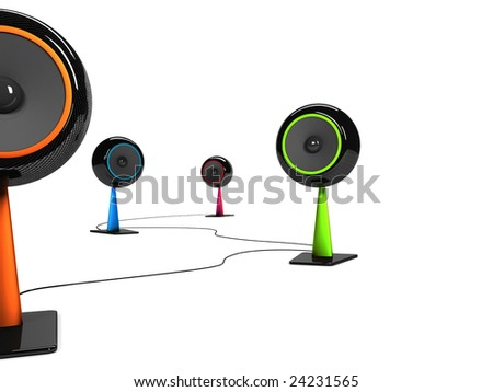 Modern colored speakers - stock photo