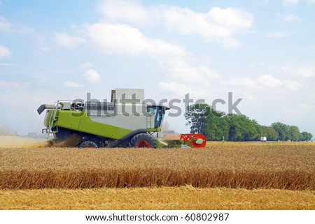 modern combine harvester working on a wheat crop - stock photo