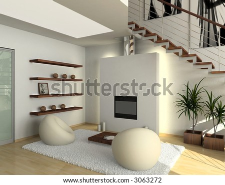 modern comfortable interior with a fire-place. 3D render - stock photo