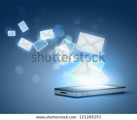 Modern communication technology illustration with messages and devices - stock photo