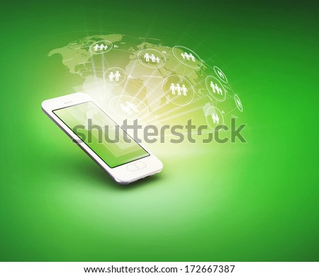 Modern communication technology illustration with mobile  - stock photo