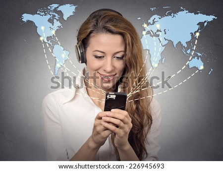 Modern communication technology mobile phone high tech, wide web connection concept. Business woman holding smartphone connected browsing internet worldwide world map background. 4g data plan provider - stock photo