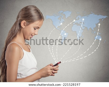 Modern communication technology, mobile phone high tech, wide web connection concept. Happy girl holding smartphone connected browsing internet worldwide, background world map. 4g data plan provider - stock photo