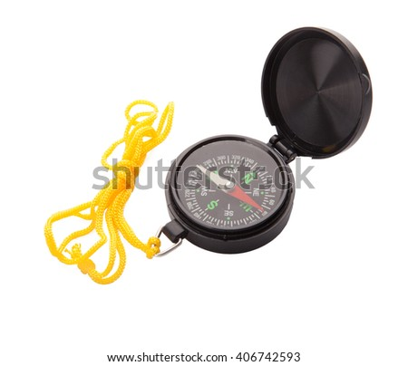 Modern compass isolated on white background  - stock photo