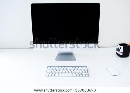 Modern Computer Desk - Minimalistic Home Office - stock photo