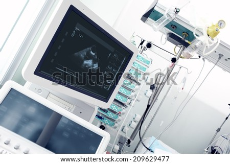 Modern computer equipment in a clinical ward - stock photo