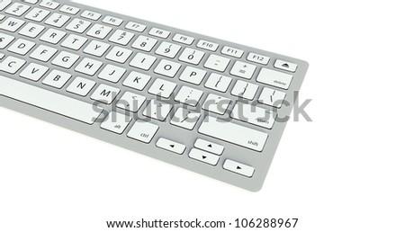 Modern computer keyboard on white background - stock photo
