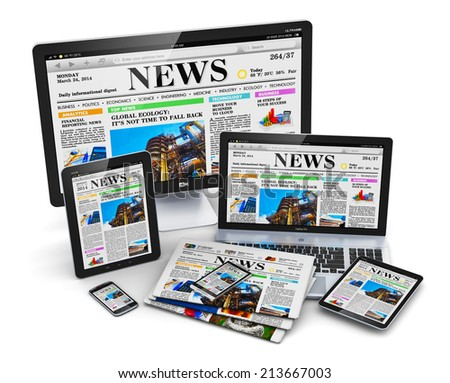 Modern computer media devices concept: desktop monitor, office laptop, tablet PC and smartphones with internet web business news on screen and stack of color newspapers isolated on white background - stock photo