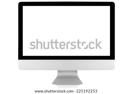 modern computer screen display isolated on white background with clipping path - stock photo