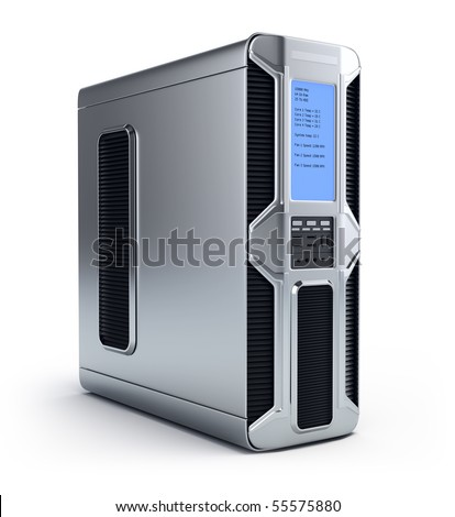 Modern computer server over white background - stock photo