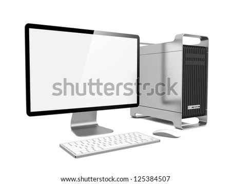 Modern Computer Station. Isolated on White. - stock photo