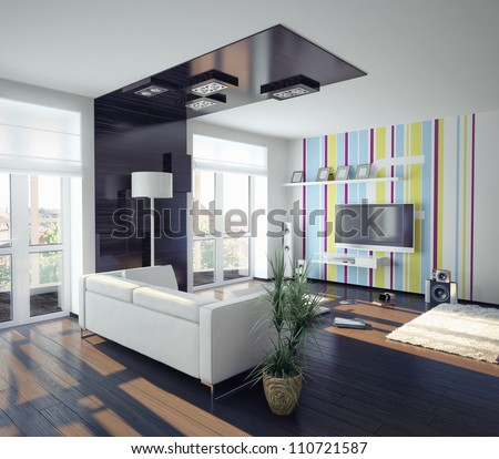 modern concept of  living room design (illustration) - stock photo