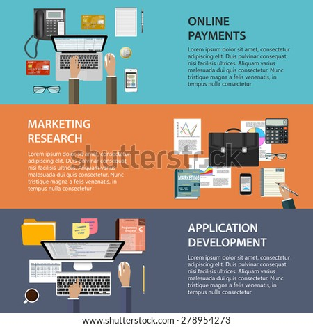 Modern concepts collection in flat design for web site construction, mobile applications, banners, corporate brochures, book covers, layouts etc. Raster illustration - stock photo