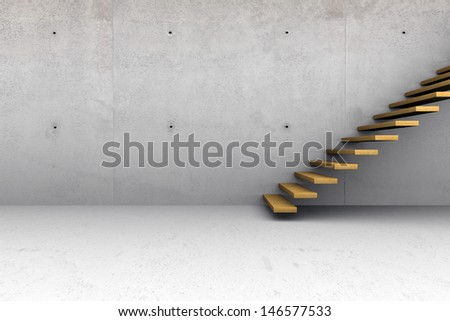 Modern concrete empty room with wooden stairs - stock photo