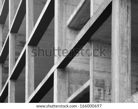 modern concrete structure, building under construction - stock photo