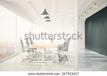 Modern conference room with furniture, blackboard and transparent wall 3D Render - stock photo