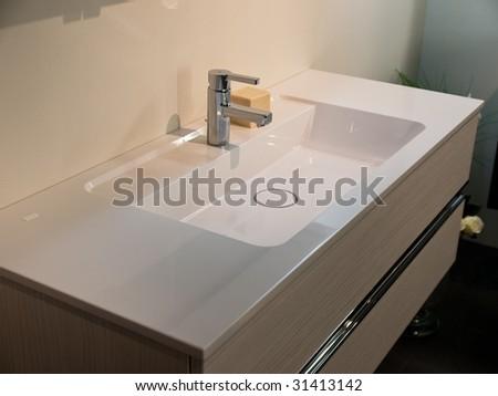 Modern contemporary designer bathroom sink details - stock photo