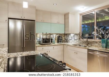 Modern Contemporary Kitchen Home Interior - stock photo