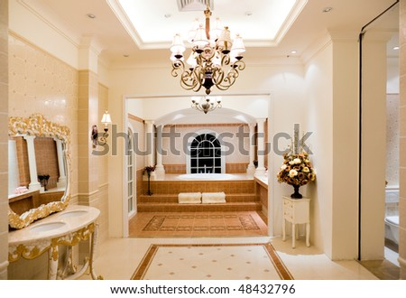 Modern contemporary style master bathroom. - stock photo